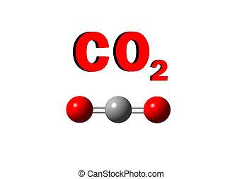 carbondioxide - illustration of carbondioxide molecule on...