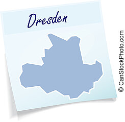 Map of Dresden as sticky note in blue