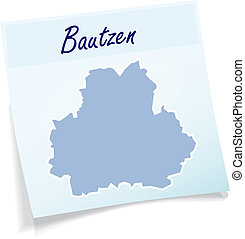 Map of bautzen as sticky note in blue