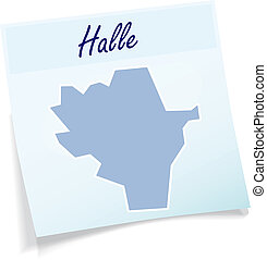 Map of Halle as sticky note in blue