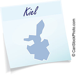 Map of kiel as sticky note in blue