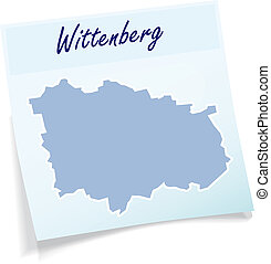Map of Wittenberg as sticky note in blue