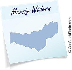 Map of Merzig-Wadern as sticky note in blue