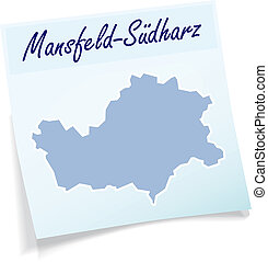 Map of Mansfeld-Suedharz as sticky note in blue