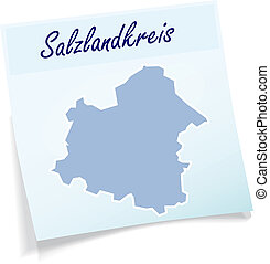 Map of Salzlandkreis as sticky note in blue