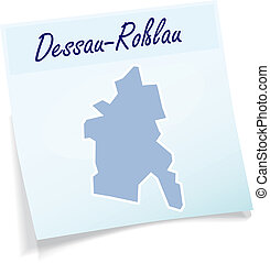 Map of Dessau-Rosslau as sticky note in blue