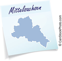 Map of Mittelsachsen as sticky note in blue