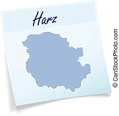 Map of Harz as sticky note in blue