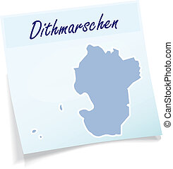 Map of Dithmarschen as sticky note in blue