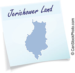 Map of Jerichower-Land as sticky note in blue