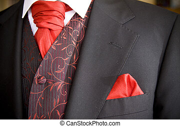 jacket of groom - suit jacket of groom and red cravat ascot...