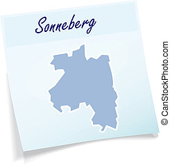 Map of Sonneberg as sticky note in blue