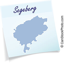 Map of Segeberg as sticky note in blue