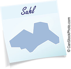 Map of suhl as sticky note in blue