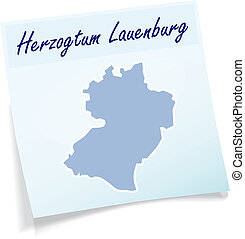 Map of Herzogtum-Lauenburg as sticky note in blue