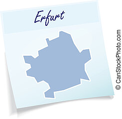 Map of Erfurt as sticky note in blue