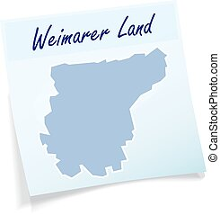 Map of Weimarer-Land as sticky note in blue