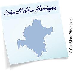 Map of Schmalkalden-Meiningen as sticky note in blue