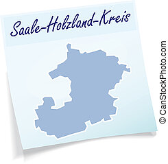 Map of Saale-Holzland-Kreis as sticky note in blue