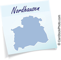 Map of nordhausen as sticky note in blue
