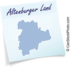 Map of Altenburger Land as sticky note in blue