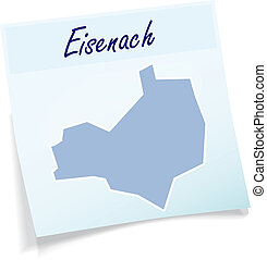 Map of eisenach as sticky note in blue