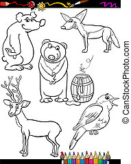 animals set cartoon coloring page - Coloring Book or Page...