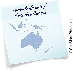 Map of australia-oceania as sticky note in blue