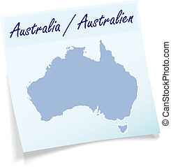 Map of Australia as sticky note in blue