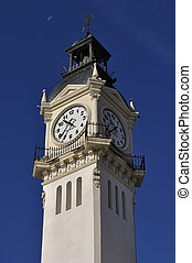Clocktower - The clock tower in the blue, clear sky,...