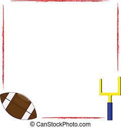 football frame - red grunge border frame with football and...