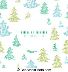 Green blue Christmas trees silhouettes textile round frame seamless pattern background
