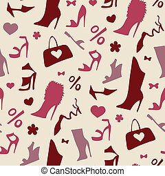 Women shoes. Seamless pattern. - Background of women shoes....