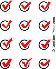 Check mark icons. - Set of twelve different vector check...