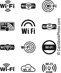 Set of twelve wifi icons - Set of twelve different black...
