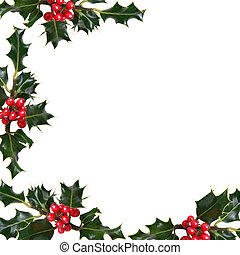Holly Leaf Border - Holly leaf sprigs with red berries...