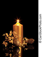 Golden Christmas Beauty - Golden christmas decorations in...