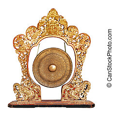 Traditional balinese gong - musical instrument isolated on...