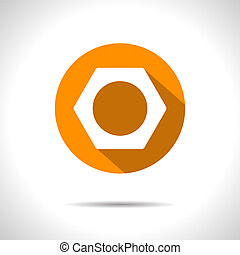 Vector nut icon. Eps10 - Vector orange nut flat icon with...