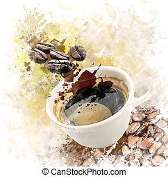 Watercolor Image Of Morning Coffee - Watercolor Digital...