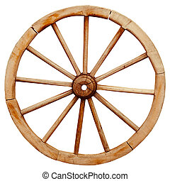 Ancient wooden grunge wagon wheel in country style isolated...