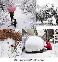 Winter snow scenes, daily life - snowchains, snowman,...