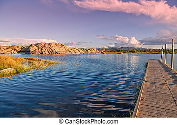 Willow Lake Prescott Arizona - a beautiful sunset at the...