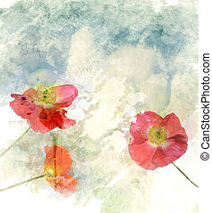 Watercolor Image Of Poppy Flowers - Watercolor Digital...
