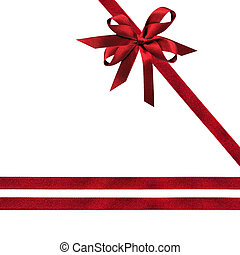 Dark Red Ribbons and Bow - Dark red ribbon and bows over...