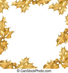 Golden Holly Leaf Border - Golden holly leaves forming a...