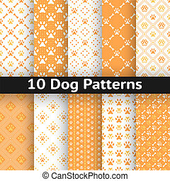 Set of dog seamless vector pattern of paw footprint in...