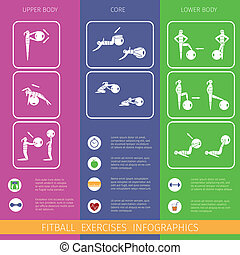 Fitness ball infographics - Fitness ball healthy activity...