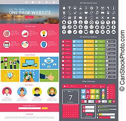 Website design template - Flat website design template with...