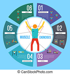 Workout training infographics - Workout sport and fitness...